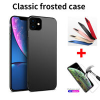 For iPhone 11 Pro Max XR X Xs Max Shockproof Matte Hard Back Tempered Glass Case