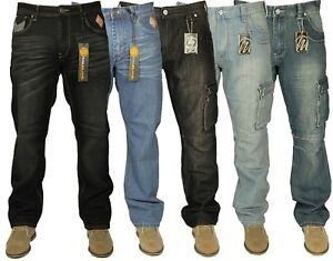 New Mens Big King Size Jeans Cargo Combat & Regular Fit Straight Leg Work Jeans