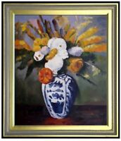 Framed, Paul Cezanne Dahlias Repro, Quality Hand Painted Oil Painting 20x24in