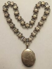 Amazing Victorian Ornate Collar Locket Chain Set Heavy Large Sterling Silver
