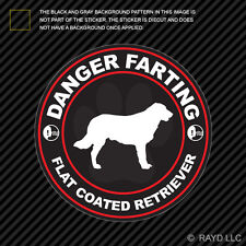 Danger Farting Flat Coated Retriever Sticker Decal Self Adhesive dog canine pet