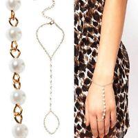 Sklaven Armband mit Ring Kette Perlen Handschmuck gold-farbig Sklavenarmband NEU