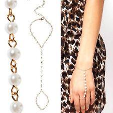 schiava Bracciale con anello catena perle color oro alla NUOVO