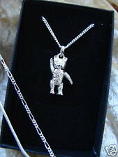 SOLID 925 STERLING SILVER TEDDY BEAR POSABLE JOINTED NECKLACE CHAIN BOX