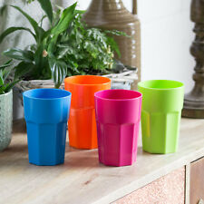 Set of 8 Bright Plastic 440ml Hi-Ball Tumblers Bar Drinks Reusable Party Glasses