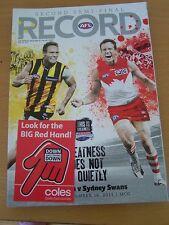 2011 AFL VFL FOOTBALL RECORD 2ND SEMI FINAL HAWKS SWANS