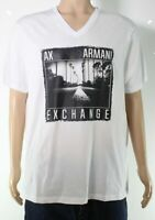 Armani Exchange Mens T-Shirt Bright White Size Large L Graphic Tee $40- 432