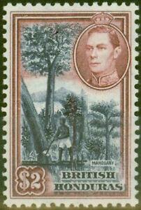 British Honduras 1938 $2 Dp Blue & Maroon SG160 V.F Very Lighlty Mtd Mint