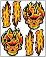 Set 6 Vinile Adesivi Fuoco Teschio Skull Fire Vinyl Sticker Auto Moto Casco Bici