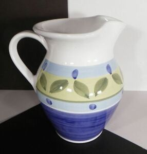 Caleca BLUE MOON Water Pitcher 8-Cup Italy Pottery Blue Green Bands Leaves