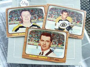 HOCKEY 3X CARDS 1966 topps BOSTON BRUINS HARRY SINDEN WOTOWITCH  JOHN MCKENZIE