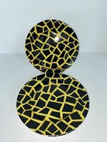 Fitz and Floyd Fine Porcelain Terrazzo Black & Yellow Salad Plates Set of 4