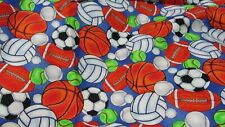 """New listing """"""""Sports Balls On Blue Blackground"""""""" - Jelly Bean Junction - 2 Yards"""