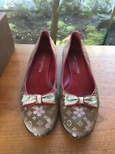 2dfc69e3d9a9 Authentic Louis Vuitton Cherry Blossom Brown Satin Monogram Flat Ballerina  38.5
