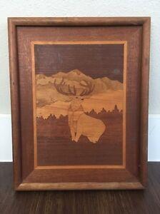 Vintage 80s ELK Deer Marquetry Artist Signed Wood Inlay Framed Art Picture