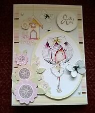 Handmade Girls Ladies Birthday Card flower butterfly Hi