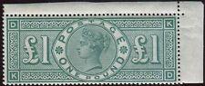 Sg 212 £1 Green. A superb post office fresh unmounted mint corner marginal