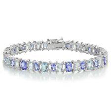 Sterling Silver Tanzanite, Aquamarine and White Topaz Oval Bracelet