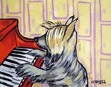 Australian Silky Terrier Playing Piano Dog Art Note Cards