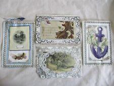 4 Antique Valentines, Paper Lace,Celluloid Anchor & Scene,1880-1900