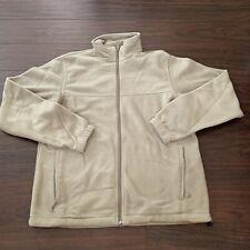 Columbia Full Zip Fleece Jacket Mens Size M tan beige Adjustable Waistband