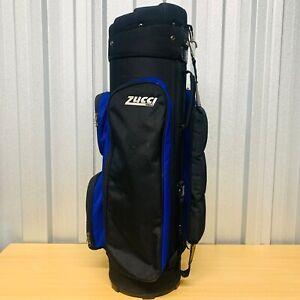 Mens ZUCCI Golf Cart / Carry Bag (Black/Blue) 10 Way Divider *VGC* FREE POST