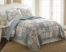 2-Piece Floral Vintage Washed 100%-Cotton Reversible Patchwork Quilt Set Twin