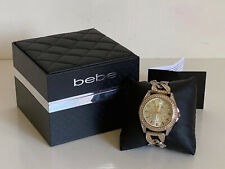 NEW! BEBE RHINESTONES CRYSTALS GOLD & SILVER TWO-TONE LINK BRACELET WATCH SALE