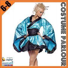 Womens Blue Japanese Kimono Geisha  Ladies Fancy Dress Costume Size 6 - 8