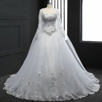 Luxury Crystal Wedding Dresses Long Sleeve Lace Applique Bridal Gown Court Train