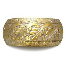 "Large Unique 3.5"" Antiqued Gold Leaf Swirl Updo Ponytail Barrette Hair Clip"
