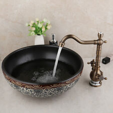 Bathroom Round Pattern Vessel Sink Tempered Ceramic Basin Bowl Faucet Combo