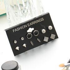 6Pairs Punk Geometric Style Earrings Square Triangle Charm Ear Studs Jewelry
