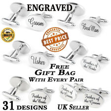 Silver Engraved Cufflinks Cuff & Links Gift Wedding Personalise Best Man Cuflink