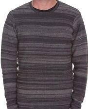 Volcom Curtis Crew Sweater suéter antracita/gris a rayas hombre nuevo