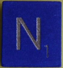 Single Scrabble Blue Wood Letter N Tile One Only Replacement Game Part Pieces