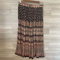 Her Style Boutique Hippie Boho Gypsy Broom Skirt One Size Black Brown