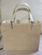 NWOT GIANNI VERSACE WOMEN'S BEIGE LEATHER & STRAW BAG SILVER TRIM EXCELLENT