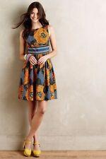 NWT Anthropologie Mille Collines Cotton Moonrise dress orange  SZ 0 retail $228