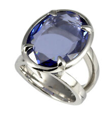 Cai 925 Sterling Silver Oval Tanzanite Coloured Cubic Zirconia Dress Ring N 1/2