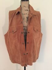Agapo Collection Women's Leather Vest Stitching Camel Brown RN 66179 Size 3X