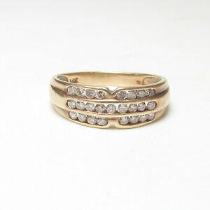 Estate 14K Yellow Gold 25 Round Brilliant Cut Diamond Band Style Ring 0.50 Cts