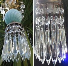 Hanging lamp crystal prism Vintage Swirl Aqua Blue Brass mini chandelier tole