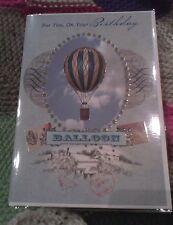 Happy Birthday greetings card - hot air balloon - vintage - male - female