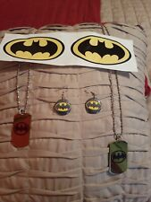 Lot Of Batman/Batgirl Costume Accessories Necklaces, Earrings, Decals
