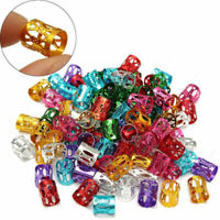 50pcs Women Dreadlock Beads Hair Braid Rings Cuff Clips Tube Adjustable 8mm