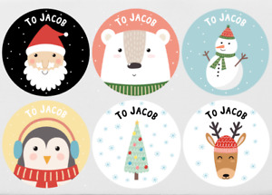 52x Personalised Christmas Stickers Santa Father Christmas Present Labels