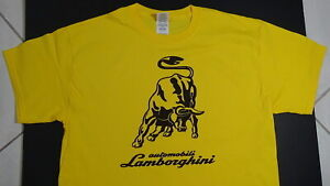 Brand New LAMBORGHINI T-SHIRT LOGO BADGE EMBLEM SPYDER LP610-4 HURACAN Yellow SV