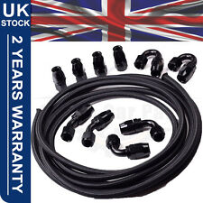 AN8 Nylon Stainless Steel Braided Fuel Hose End Fuel Adapter Kit Oil Line 16FT