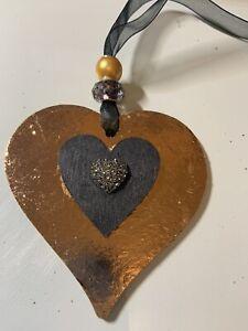 Black Gold leaf Wooden Heart hanging decoration sign plaque hanger gift mother